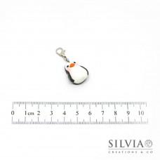 Charm pinguino bianco e nero con moschettone
