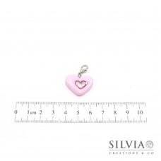 Charm cuore rosa e argento con moschettone