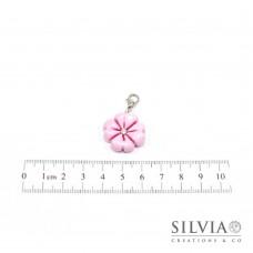 Charm quadrifoglio rosa con moschettone