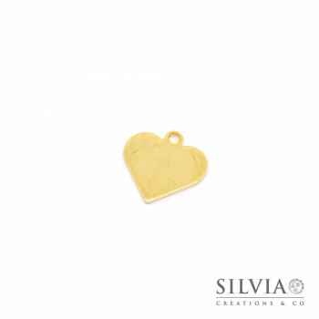 Charm a forma di cuore color oro in acciaio da 16x16 mm