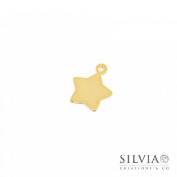 Charm a forma di stella oro in acciaio da 17x14 mm