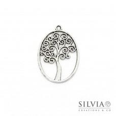 Charm a forma di albero in ovale argento antico in zama 40x27 mm