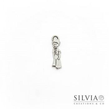 Charm a forma di Piccolo Principe argento antico in zama 22x6 mm