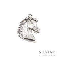 Charm a forma di cavallo argento antico in zama 41x28 mm