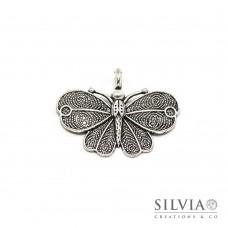 Charm a forma di farfalla argento antico in zama 41x32 mm