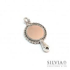 Charm a forma di specchio argento antico in zama 60x32 mm