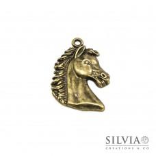 Charm a forma di cavallo bronzo in zama 41x28 mm