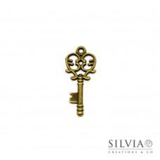 Charm a forma di chiave bronzo in zama 33x14 mm
