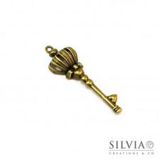Charm a forma di chiave bronzo in zama 57x19 mm