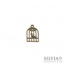Charm a forma di gabbietta con uccellino bronzo in zama 19x12 mm