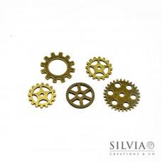 Charm a forma di ingranaggi steampunk bronzo forma casuale x 5pz