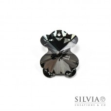 Pendente di cristallo a forma di orso grigio scuro 28x24 mm