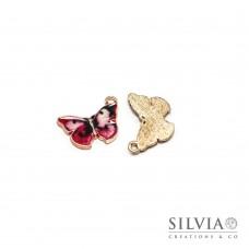 Charm a forma di farfalla smaltata in zama 21x17 mm