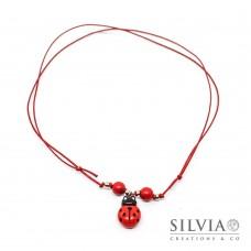 Collana cordino cerato con coccinella rossa