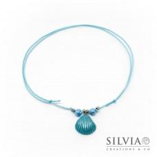 Collana cordino cerato con conchiglia azzurra