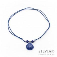 Collana cordino cerato con conchiglia blu