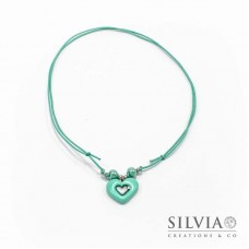 Collana cordino cerato con cuore azzurro Tiffany
