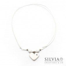 Collana cordino cerato con cuore bianco