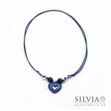 Collana cordino cerato con cuore blu