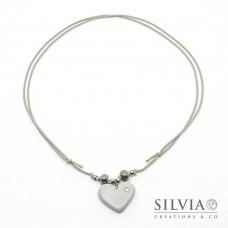 Collana cordino cerato con cuore grigio