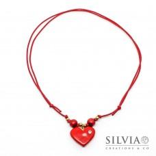 Collana cordino cerato con cuore rosso