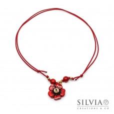 Collana cordino cerato con fiore rosso