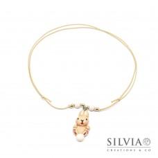 Collana cordino cerato con coniglio beige