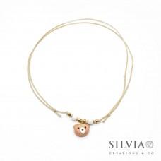 Collana cordino cerato con musetto orsetto peluche