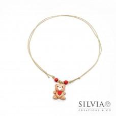 Collana cordino cerato con orsetto peluche e cuore rosso