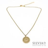 Collana girocollo e medaglietta con costellazioni astronomiche in acciaio dorato