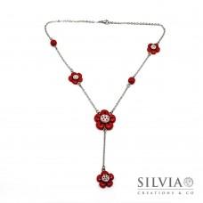 Collana a rosario con fiori rossi e beige