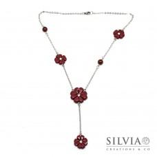 Collana a rosario con quadrifogli bordeaux