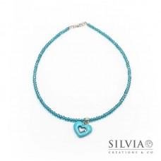 Collana girocollo con cristalli e cuore azzurro