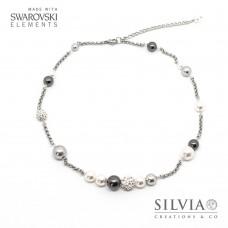 Collana girocollo con perle Swarovski color bianco e grigio catena acciaio