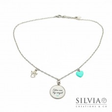 "Collana girocollo catena acciaio con frase ""You are my Angel"" e charms"