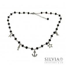 Collana girocollo stile rosario con cristalli neri e ciondoli a tema mare