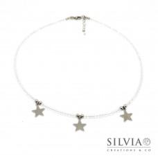 Collana girocollo con cristalli trasparenti e tre stelle in acciaio
