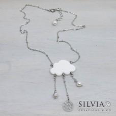 Collana girocollo catena acciaio con nuvola e fiocchi di neve