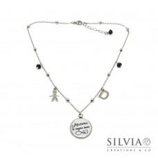 """Collana girocollo ciondolo con scritta """"Mamma ti voglio bene"""" simbolo infinito e charms"""