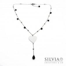 Collana catena acciaio con cristalli neri e cuore in alluminio personalizzabile