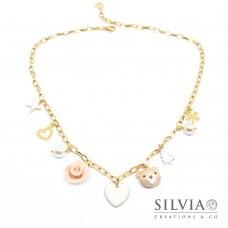 Collana girocollo catena acciaio dorata con muso di orsetto e charms natalizi