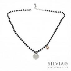 Collana girocollo catena acciaio con cristalli neri cuore e campanellino