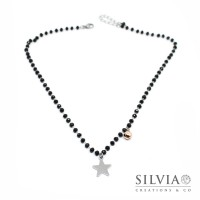 Collana girocollo catena acciaio con cristalli neri stella e campanellino