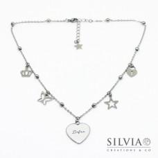 Collana girocollo con ciondolo personalizzato a forma di cuore con nome e charms