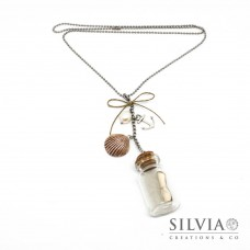 "Collana catena lunga con charms e ""message in a bottle"" grande"