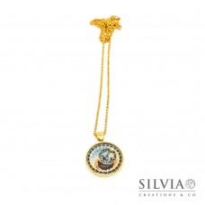 Collana lunga catena acciaio color oro con orologio astronomico