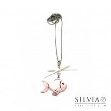 Collana lunga pesce bianco e rosa con fiocco