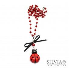Collana catena a rosario con fiocco e coccinella rossa