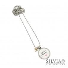 """Collana lunga catena acciaio e scritta """"Futura Mamma"""" con cuore rosa"""