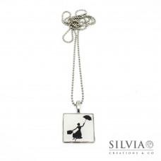Collana lunga con catena acciaio e pendente con sagoma di Mary Poppins